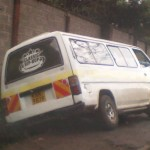 Matatu driving on Gitanga Rd sidewalk gets stuck #PoeticJustice #OverlapKE